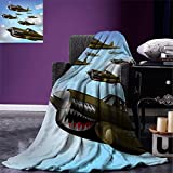 smallbeefly Airplane Digital Printing Blanket Fighter Aircrafts Up in Air Flight Machinery Wings Illustration Technology Summer Quilt Comforter Blue Green Grey