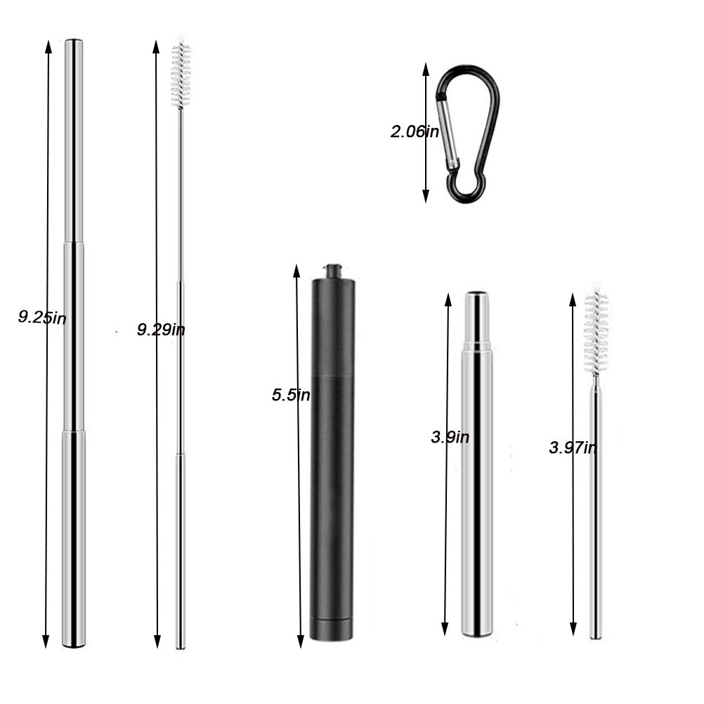 Topgogo Reusable Straws Collapsible,304 Stainless Steel Telescopic Drinking Straw Food-Grade design,Portable Set Hard Case with Cleaning Brush keychain for Travel,Outdoor,Party