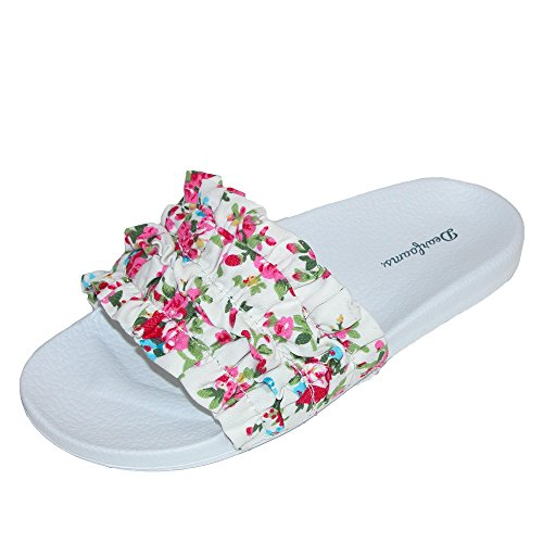 Dearfoams Memory Foam Ruffle Molded Footbed Slide, Pink Floral – Small (5-6) Review