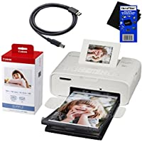 Canon Selphy CP1200 Wireless Color Photo Printer (White) + Canon KP-108IN Color Ink Paper Set (Produces up to 108 of 4 x 6 prints) + USB Printer Cable + HeroFiber Ultra Gentle Cleaning Cloth