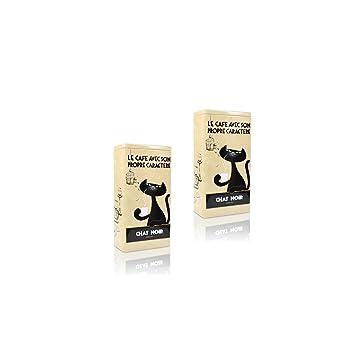 4 x Zwarte Kat Kaffeedose Chat Noir beige Aufbewahrung der Kaffee Bohnen