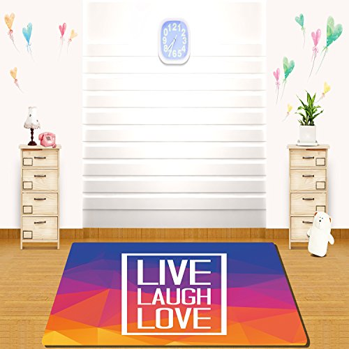 HAIXIA rugs Live Laugh Love Decor Famous Slogan Framework Triangulated Low Poly Effects Colorful Print Decorative