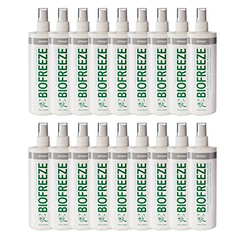 Biofreeze Pump (Biofreeze Pain Relief Spray for Arthritis, 16 oz. Bottle with Pump, Colorless Formula, Case of 18, 10.5% Menthol)