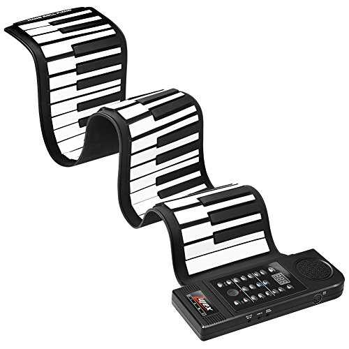 Lujex Upgrade Portable 61 Keys Roll-Up Flexible Electronic Piano Keyboard with Full Soft Responsive Keys Built-in Speaker