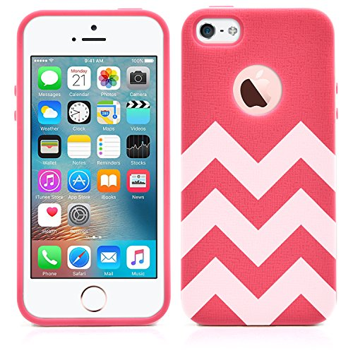 iPhone SE / 5S / 5 Case, MagicMobile Slim Hybrid Case [Cute White Chevron Pattern] Rugged TPU with Bumper Frame Dual Layers - [Rose Red]