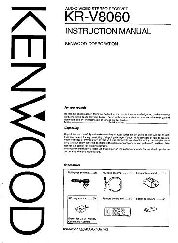 Kenwood KRV-8060 Receiver Owners Instruction Manual Reprint [Plastic Comb] - Kenwood Receiver Manuals