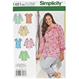 Simplicity Pattern 1461 Women's Tunic with Neckline and Sleeve Variations Plus Size 20W-28W