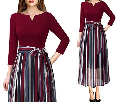 1675865141b Womens Elegant Vintage Print Pockets Belted Business Casual Party Fit  A-Line Midi Dress
