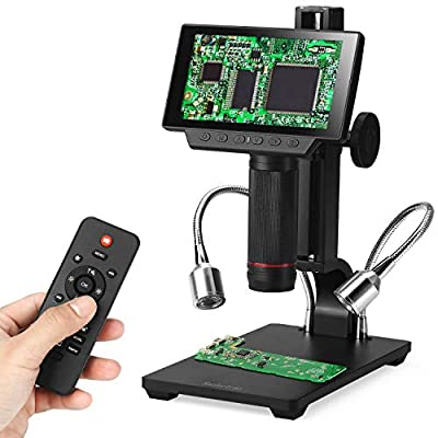 Koolertron 5 inch LCD 1080P Wireless Remote Control Digital Microscope Up to 560x Magnification with Adjustable Stand, USB/HDMI/AV Output Camera Video Recorder with 8 LED Adjustable Light Source