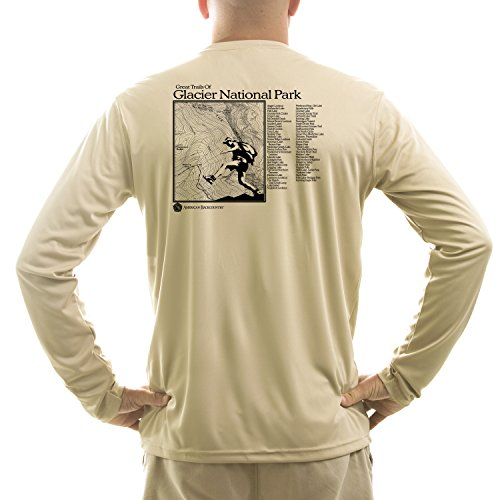 - American Backcountry Men's Glacier National Park UPF 50+ Long Sleeve T-shirt Large Tan