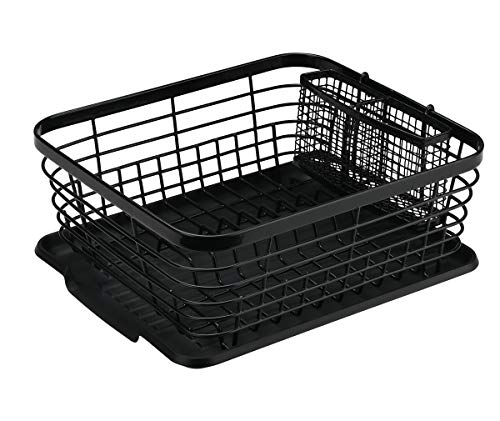 Denozer Kitchen Sink Dish Drainer Rack with Drainboard and Utensils Basket, Black