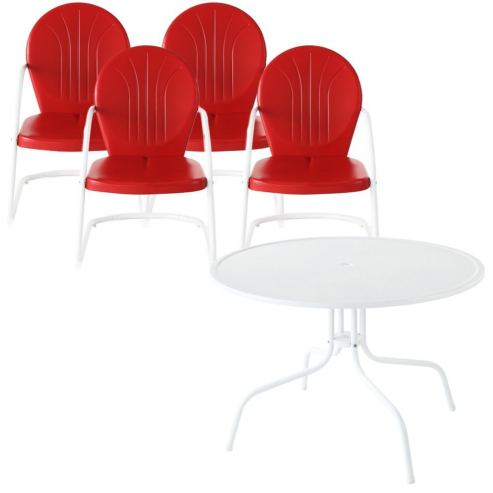 Amazon com crosley furniture griffith 5 piece metal outdoor dining set with table and chairs coral red outdoor and patio furniture sets garden