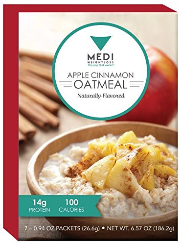 Medi-Weightloss Apple Cinnamon Oatmeal - High Protein (14g) - Easy to Make - 7 Meals Per Box