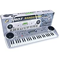 Amisha Gift Gallery 54 Key Bandstand Electronic Keyboard Musical Piano Recording and Mic for Kids Electronic Musical Piano Keyboard with LCD Display Adapter Microphone