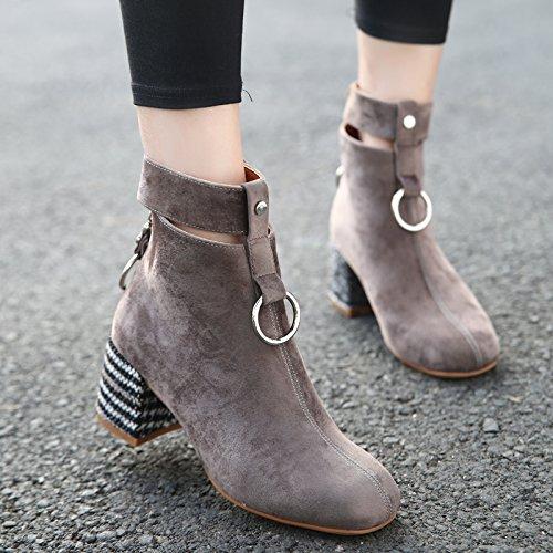 KHSKX-Folk Estilo Retro Zapatos Botas De Mujer Con Botas De Terciopelo Grueso Redondo Martin Botas Zapatos De HebillaTreinta Y NueveKhaki