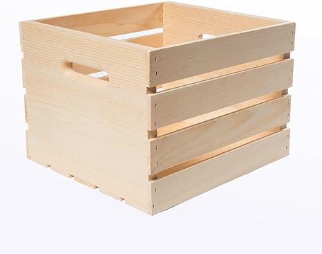 "L H x 9.5/"" W Unfinished Pine Wood Versatile x 12.5/"" Storage Crate Large  18/"""
