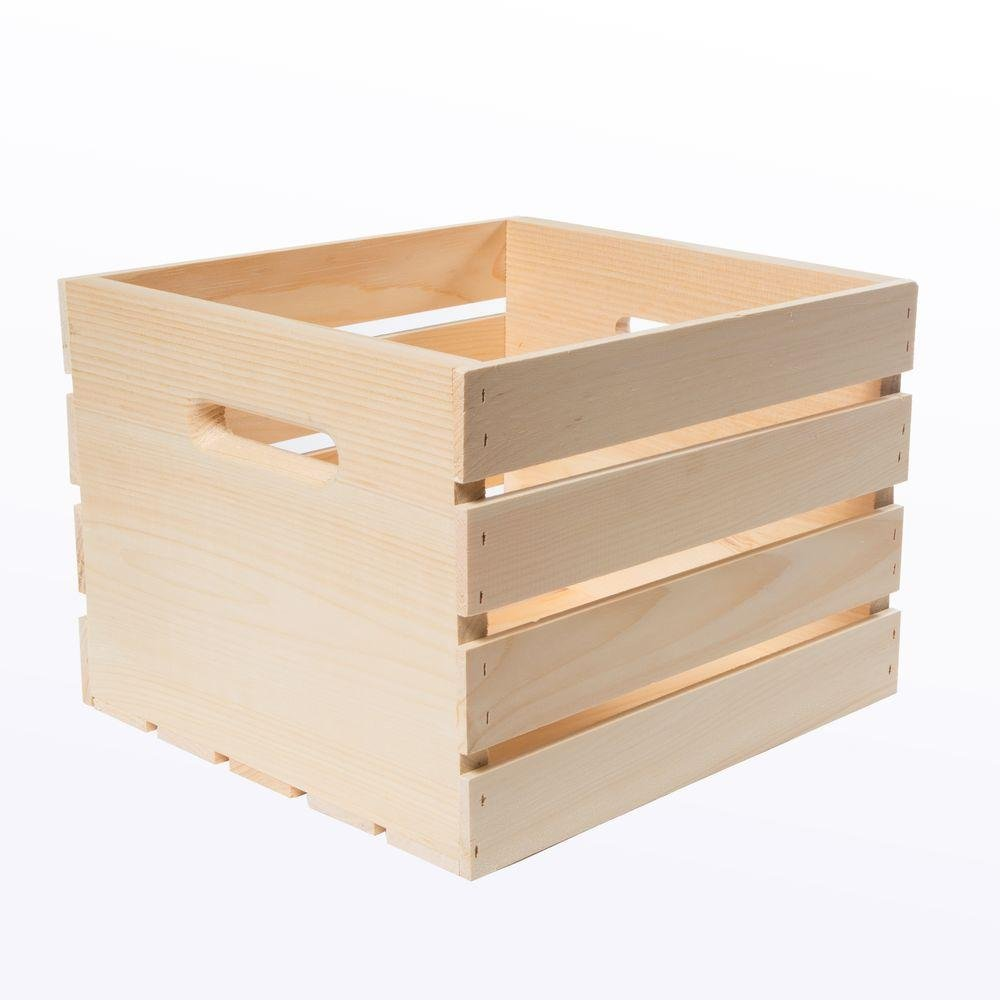 13.5'' x 12.5'' x 9.5'' Medium Versatile Unfinished Pine Wood Crate (4-Pack) by Crates&Pallet