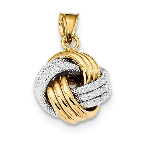 14k Two Tone Yellow Gold Textured Love Knot Pendant Charm Necklace Fancy Fine Jewelry Gifts For Women For Her