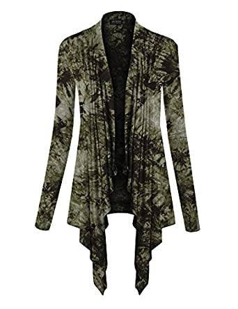 Lock and Love LL Womens Long Sleeve Draped Open Front Cardigan at ...
