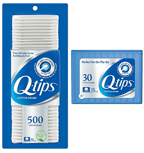 Q-tips Cotton Swabs, 500 ct + Travel Holder Case for a Purse by Q-Tips