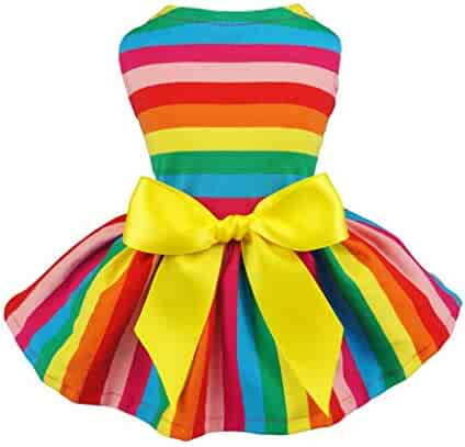 680770135073 Fitwarm Rainbow Pet Clothes Dog Dresses Vest Shirts Sundress Large
