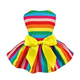 Fitwarm Rainbow Pet Clothes Dog Dresses Vest Shirts Sundress XXS