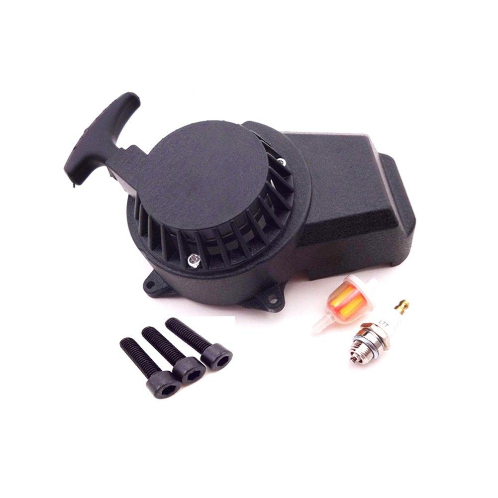 TC-Motor Black Aluminum Easy Recoil Pull Starter + Spark Plug + Fuel Filter + Screws For 47cc 49cc Engine Parts Mini Moto Dirt Pocket Bike ATV Quad