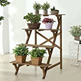 4 Tier Wood Slat Plant Rack, Indoor / Outdoor Garden Display Stand Shelf
