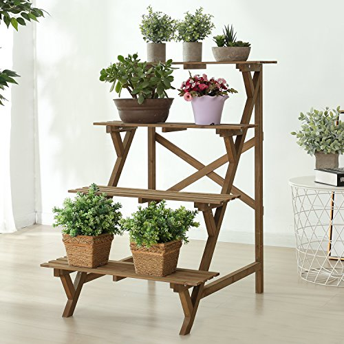4 Tier Wood Slat Plant Rack, Indoor / Outdoor Garden Display Stand Shelf by MyGift