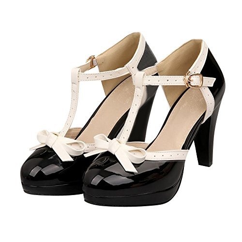 - Carol Shoes Fashion T Strap Bows Womens Platform High Heel Pumps Shoes (8.5, Black)