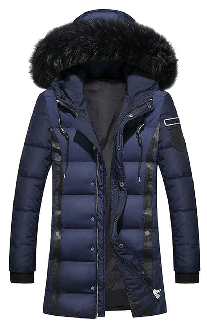 GAGA Men Winter Fur Collar Mid-Long Hooded Down Jacket Thicken Outdoor Coat