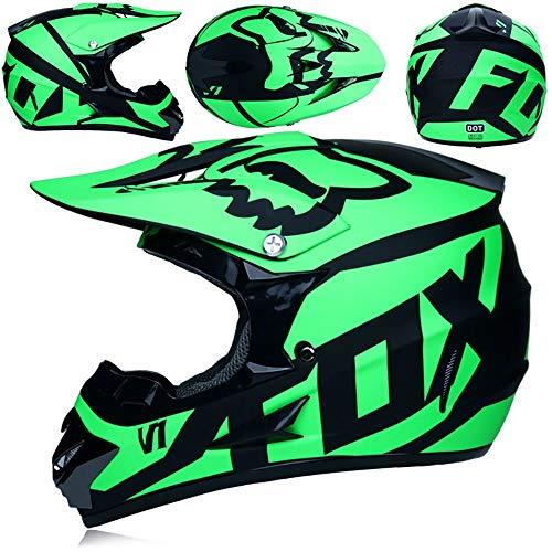 Jeffzhang Adult Helmets,Off Road Gear Combo Helmet Gloves Goggles DOT Motocross ATV Dirt Bike MX Riding Helmet Protective Equipment (Green, X(Head Size 56-57)) (Dirt Bike Riding Gear)
