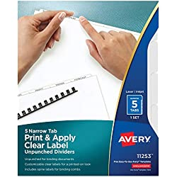 Avery 5 Narrow Tab Unpunched Dividers, Easy Print & Apply Clear Labels, Index Maker, White Tabs, 1 Set (11253)