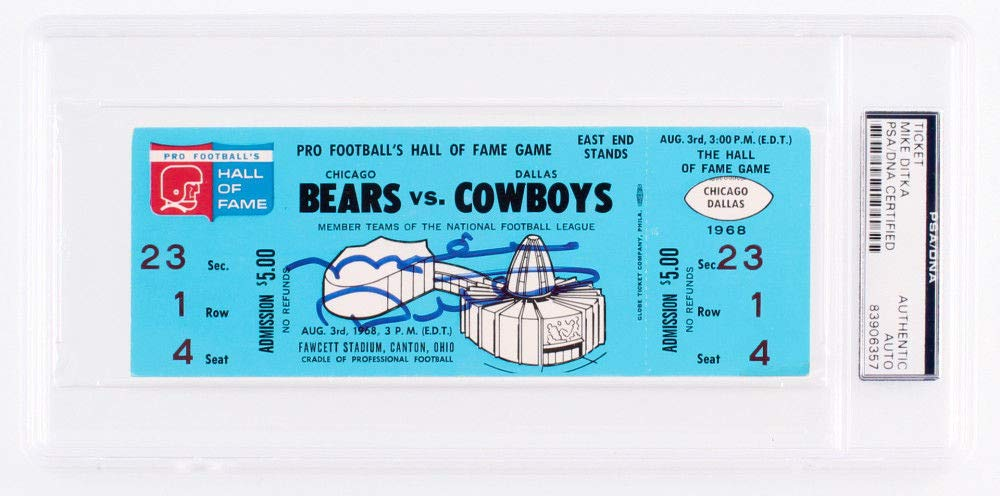 Mike Ditka Autographed Signed 1968 Bears Vs Cowboys Ticket PSA/DNA Certified
