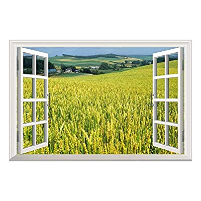 Yellow Wheat Field Open Window Mural Wall Sticker, Quality Artwork, Delightful Style