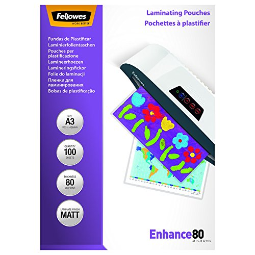 Fellowes A3 80 Micron Matt Laminating Pouches (Pack of 100) by Fellowes