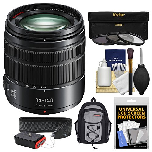 Panasonic Lumix G X Vario 14-140mm f/3.5-5.6 ASPH Power OIS Zoom Lens with Case + 3 Filters + Strap + Kit for G7, GF7, GH3, GH4, GM5, GX7, GX8 Cameras (Gh4 Lumix Bundle)