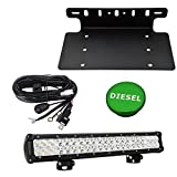 Front License Plate Holder Bracket & Billet Aluminum Green Diesel Fuel Cap & 20 inch 120W Combo LED Light Bar w/wiring kit Fit 2013-2018 DODGE RAM 1500 2500 3500 Models