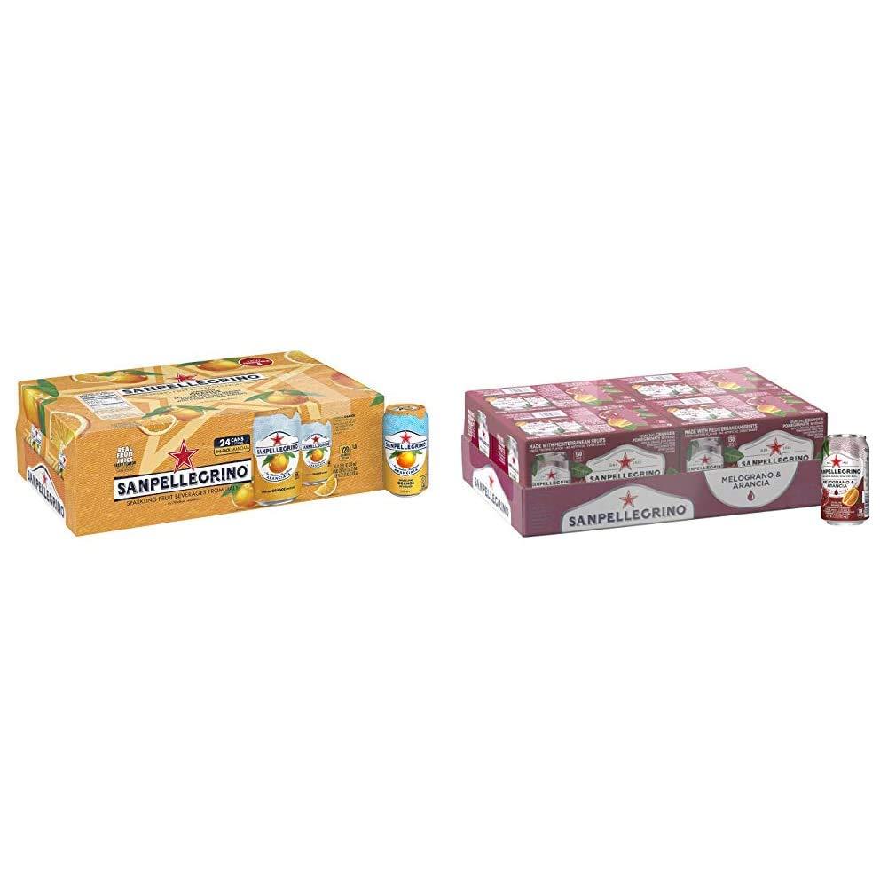 Sanpellegrino Italian Sparkling Drink, Orange, 11.15 Fluid Ounce, Cans (Pack of 24) & Sanpellegrino Pomegranate and Orange Italian Sparkling Drinks, 11.15 fl oz. Cans (24 Count)