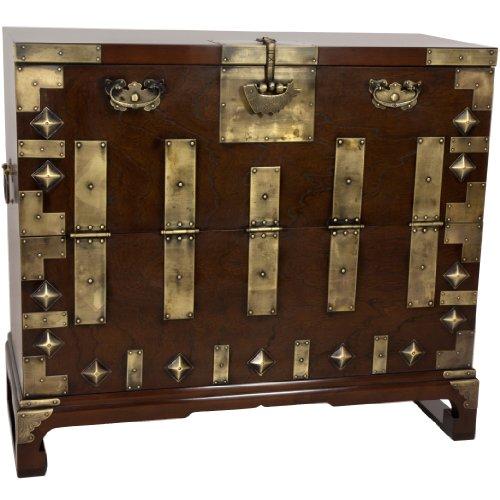 Oriental Furniture Korean Bandaji Antique Style Blanket (Cherry Blanket Chest)