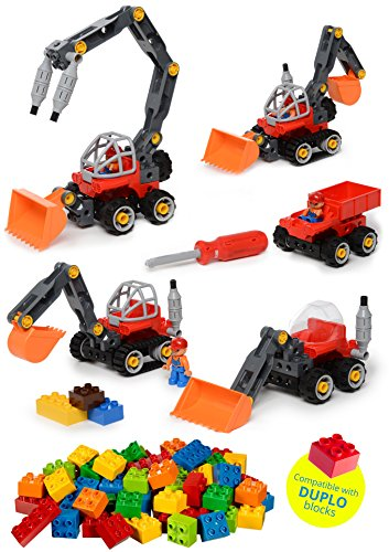 Construction Take Apart Tractor Toy & Build Your Own Tractor & Sand Truck screwdriver Included with 42 Piece Constructions Set Amazing toy for boys and girls (Duplo Compatible) Build Toy Truck