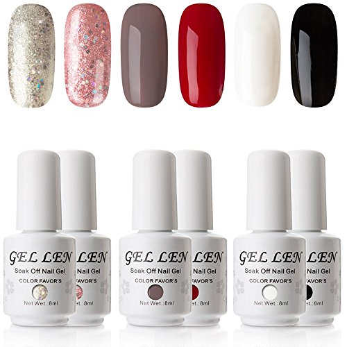 Gellen New Pure & Glitters Gel Nail Polish Set -