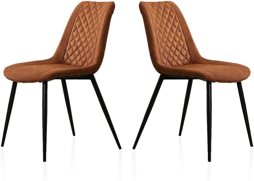 TUKAILAI 2PCS Modern Brown Fabric Dining Chairs with Padded Seat and Metal Legs Living Room Chairs Reception Chairs for Kitchen Lounge Leisure Dining Room Furniture