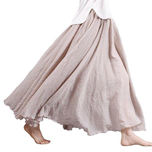 Tomwell Femmes A-Ligne Chic Taille Elastique Casual Jupe Taille Haute Plisse Maxi Longue en Lin Elgante Jupe Beige