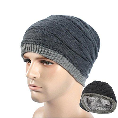 Iuhan Winter Unisex Women Men Knit Ski Crochet Slouch Hat Cap Beanie Hip-Hop Hat (Gray) - Old Man Fisherman Costume