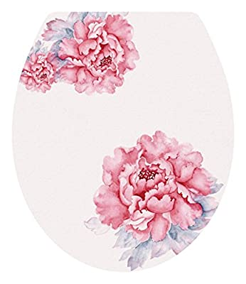 """DNVEN (13""""w X 15""""h) Pink Bloosm Peony Floral Flowers Bathroom Toilet Seat Lid Cover Decals Stickers"""
