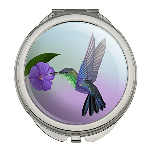 Hummingbird Crowned Woodnymph Purple Violet Compact Travel Purse Handbag Makeup Mirror
