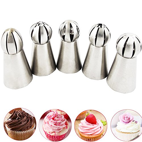 Price comparison product image Bestgle 5 PCS Russian Tulip Ruffle Icing Piping Nozzles Tips Set,  Sphere Ball Russian Tips Stainless Steel,  Pastry Cake Fondant Cupcake Buttercream DIY Decor Baking Tool