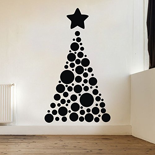 (Christmas Tree Points with Star Vinyl Wall Art Sticker Holiday Festive D¨¦cor Kids Decals (Black, 46