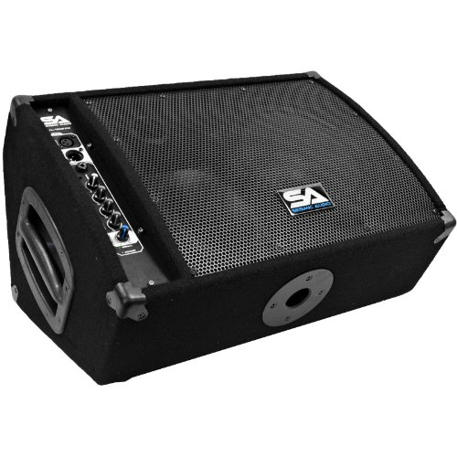 Seismic Audio FL-10MP-PW Premium Powered 2-Way 10-Inch Active Floor/Stage Monitor with Titanium ()